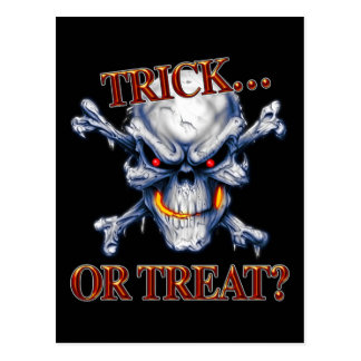 Halloween Trick or Treat Skull Postcard