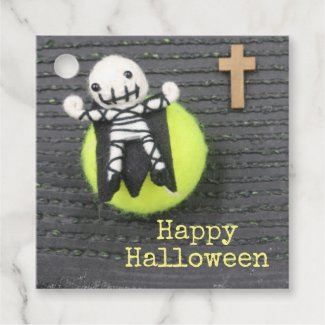 Halloween Trick or treat tennis ball and ghost Favor Tags
