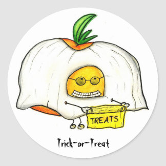Halloween Trick or Treat Tomato Ghost Classic Round Sticker