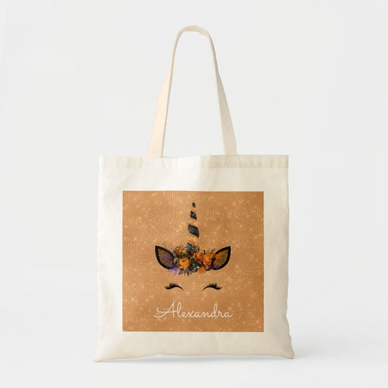 Halloween Trick or Treat Unicorn Monogram Tote Bag