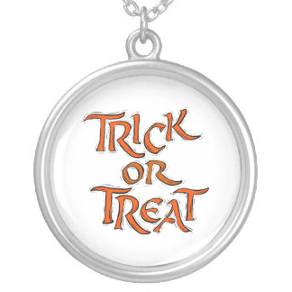 Halloween Trick or Treat Words Silver Plated Necklace