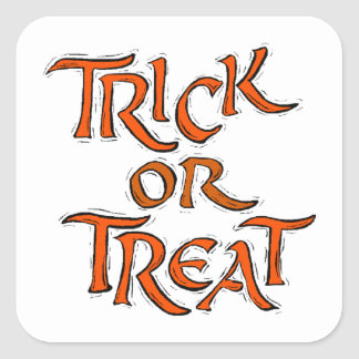Halloween Trick or Treat Words Square Sticker