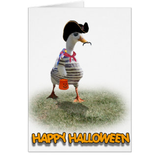 Halloween Trick or Treating Pirate Duck Card
