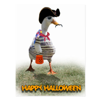 Halloween Trick or Treating Pirate Duck Postcard