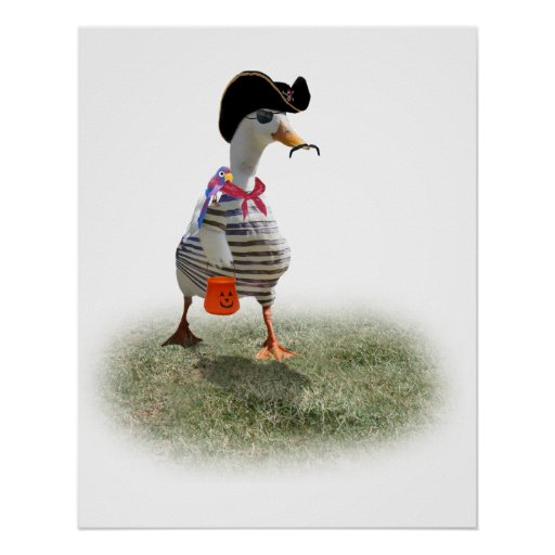 Halloween Trick or Treating Pirate Duck Poster