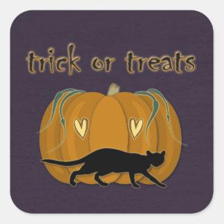 Halloween' trick or treats goodies square sticker