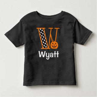 Halloween Tshirt w Pumpkin Monogram Initial W