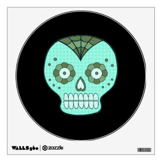 Halloween Turquoise Skull Small Wall Decal by Janz