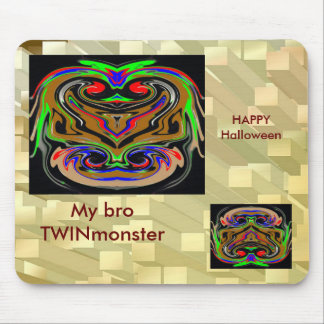 HALLOWEEN TWIN MONSTERs - Goldbar base Mouse Pads