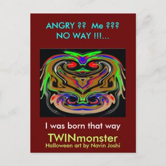 HALLOWEEN TWIN MONSTERs Post Cards