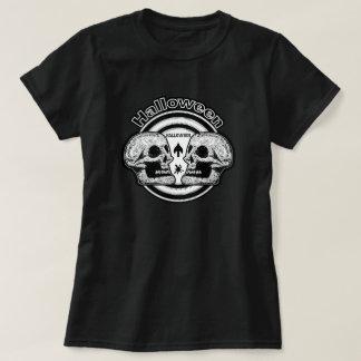Halloween Two Skulls - Black & White T-Shirt