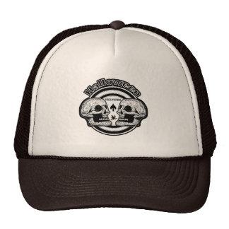 Halloween Two Skulls - Black & White Trucker Hat