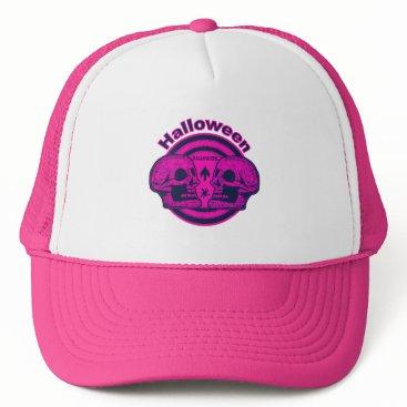 Halloween Themed Halloween Two Skulls - Neon Pink Trucker Hat