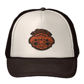 Halloween Two Skulls - Orange Black Worn 2 Trucker Hat