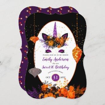 Halloween Unicorn Face Birthday Purple Orange Gold Invitation