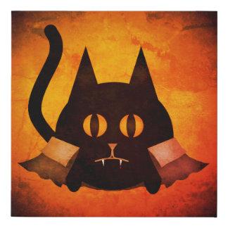 Halloween vampire cat faux canvas print