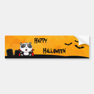 Halloween Vampire Panda Bear Cartoon Bumper Sticker