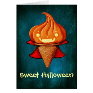 Halloween Vampire Pumpkin Ice Cream Card