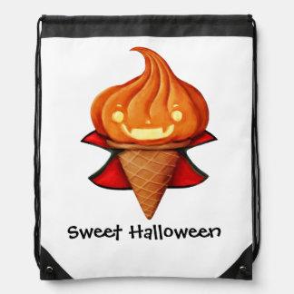 Halloween Vampire Pumpkin Ice Cream Drawstring Backpack