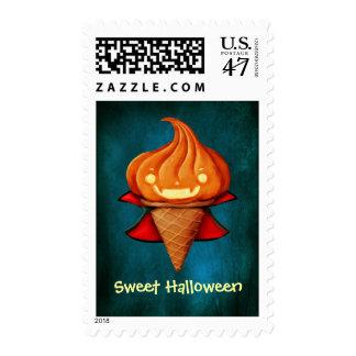 Halloween Vampire Pumpkin Ice Cream Postage Stamp