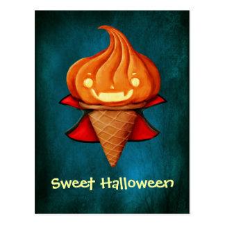 Halloween Vampire Pumpkin Ice Cream Postcard