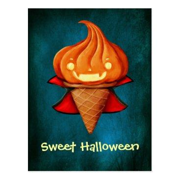 Halloween Themed Halloween Vampire Pumpkin Ice Cream Postcard