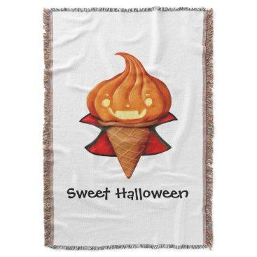 Halloween Themed Halloween Vampire Pumpkin Ice Cream Throw
