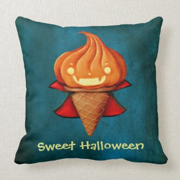 Halloween Themed Halloween Vampire Pumpkin Ice Cream Throw Pillow