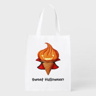 Halloween Vampire Pumpkin Ice Cream Reusable Grocery Bag