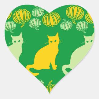 Halloween verde pegatina en forma de corazón