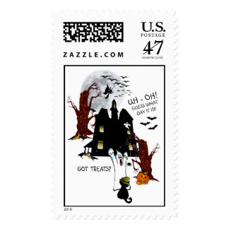 Halloween Version - Uh Oh! Guess What Day It Is Postage Stamp