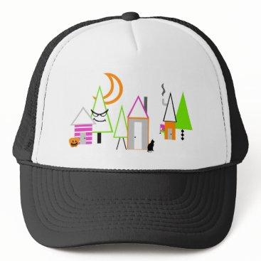Halloween Themed halloween village custom black orange purple trucker hat