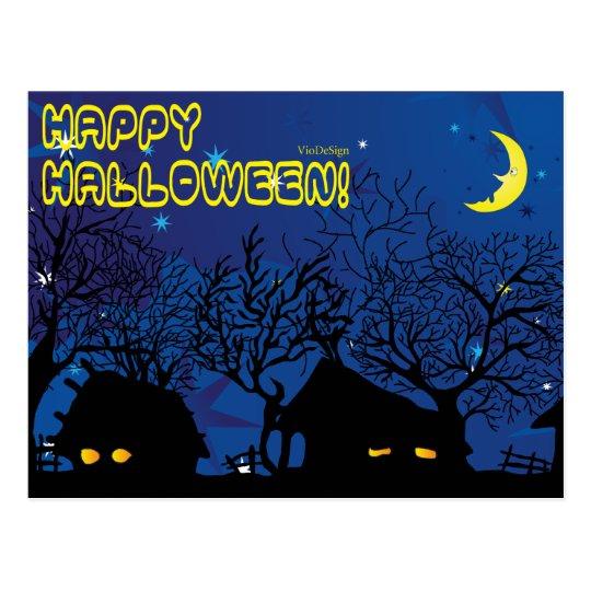 halloween village postcard