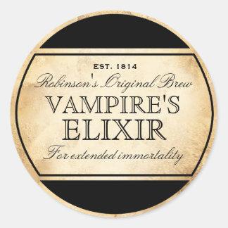 Halloween vintage alchemy Vampire's Elixir label Classic Round Sticker
