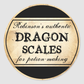 Halloween vintage apothecary dragon scales label classic round sticker