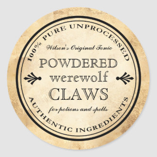 Halloween vintage apothecary werewolf claws label classic round sticker