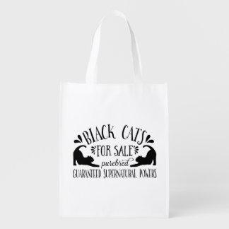 Halloween Vintage Black Cat Reusable Grocery Bags