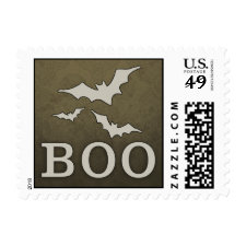 Halloween Vintage Brown BOO Bats Matching Postage
