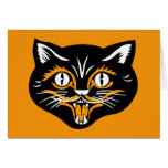 Halloween Vintage Cat Face Greeting Card