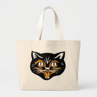 Halloween Vintage Cat Face Large Tote Bag
