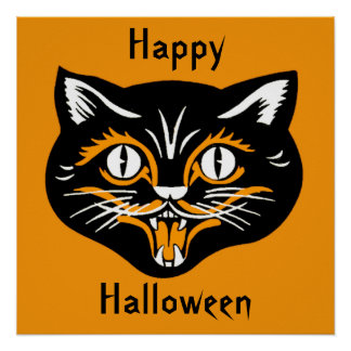 Halloween Vintage Cat Face Poster