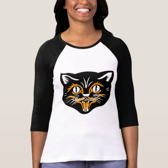 Halloween Vintage Cat Face T-Shirt