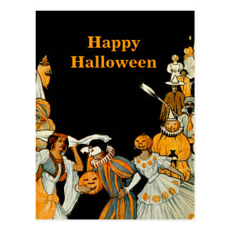 Halloween Vintage Costume Party Postcard