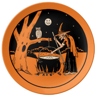 Halloween Vintage Design - Witch in the Forest Porcelain Plate