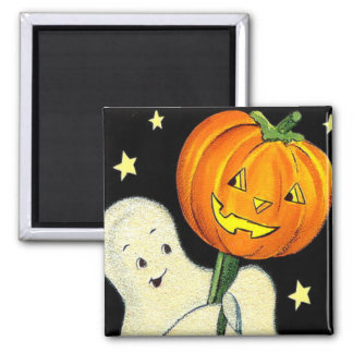 Halloween Vintage Ghost and Pumpkin Magnet