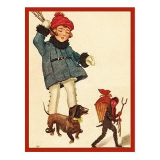 Halloween Vintage Girl and Dachshund Chase Devil Postcard