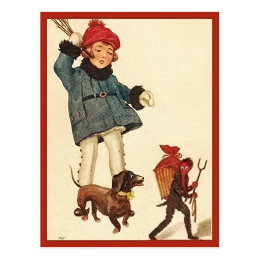 Halloween Vintage Girl and Dachshund Chase Devil Post Card