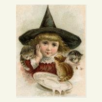 Halloween Vintage Girl Witch Kittens Postcard