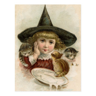 Halloween Vintage Girl Witch Kittens Postcard
