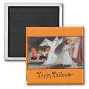Halloween Vintage Girl with Candle Magnet